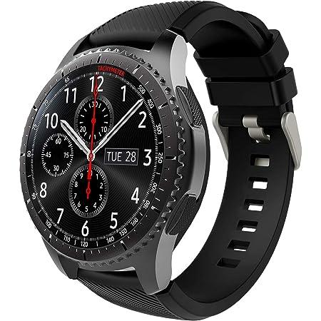 TiMOVO Correa de Reloj Compatible con Samsung Gear S3 Frontier/Galaxy Watch 3 45mm, Banda de Silicona Compatible con Huawei Watch GT2 Pro/GT 2e/GT 46mm/GT2 46mm/Ticwatch Pro 3 - Negro