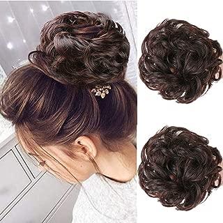 MORICA Messy Bun Hair Scrunchies 2PCS Messy Bun Hair Piece for Women Curly Wavy Scrunchy Updo Bun Extensions(Color:2/33#)
