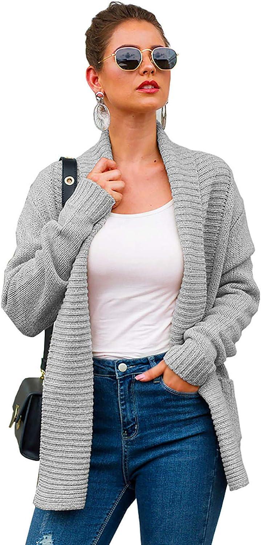 Women's Shawl Collar Open Front Cardigan Rib Knit Loose Chunky Sweater Coat