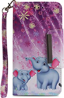 NVWA Compatible Apple iPhone 6s Case,iPhone 6 Phone Case,PU Leather Wallet [Kickstand Wrist Strap][Credit Card Slot] Magnetic Closure Stand Flip Full Body Protective Cover Purple Fireworks Elephant
