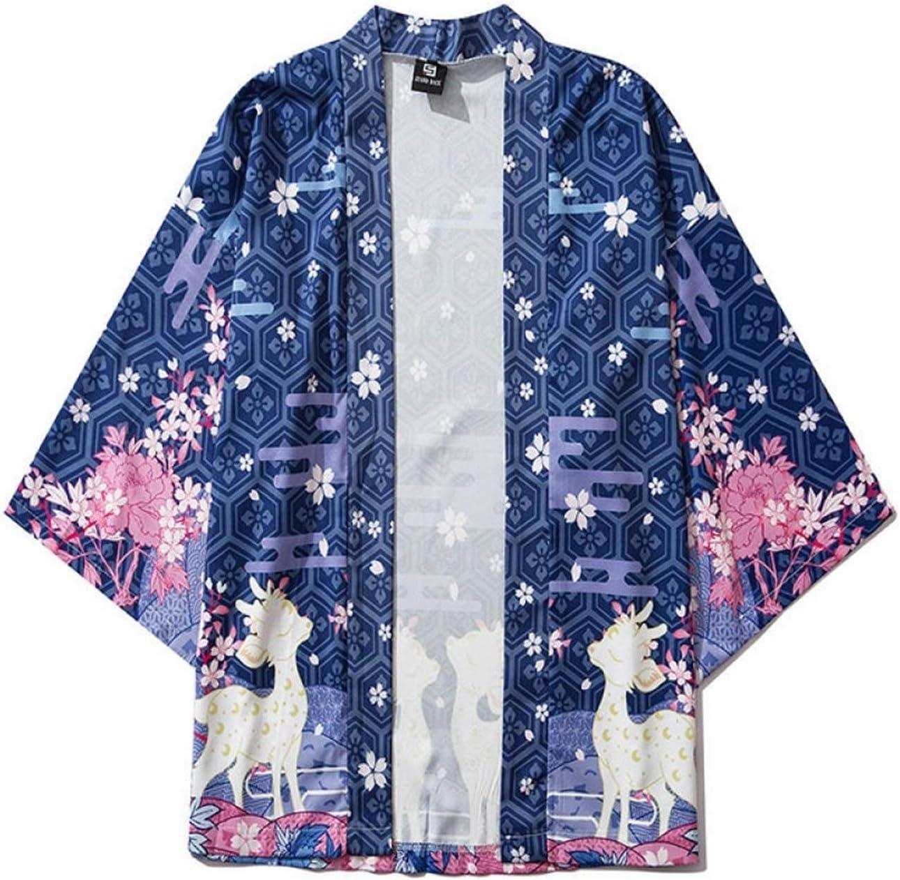 SHUYANshiyu Japanese Ukiyo-e Sika Deer Print Robe China Harajuku Ancient Style (Color : Color, Size : XL)
