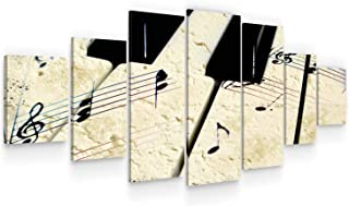 STARTONIGHT Large Canvas Wall Art Music - Piano Tiles - Huge Framed Modern Set of 7 Panels 40 x 95 Inches