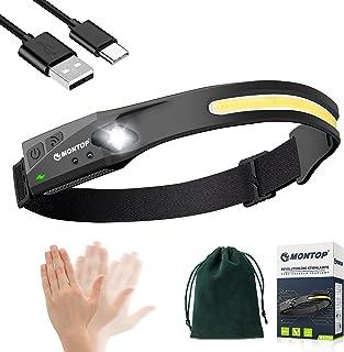Koplamp LED oplaadbare, intelligente sensorkoplamp COB & XPE Superheldere 230 ° schijnwerper en spotlight met 5 lichtstand...
