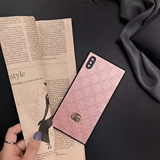 Phone Case for iPhone XR, Luxury Designer Classic Monogram Leather Back Soft TPU Bumper Protective Trunk Case for iPhone XR