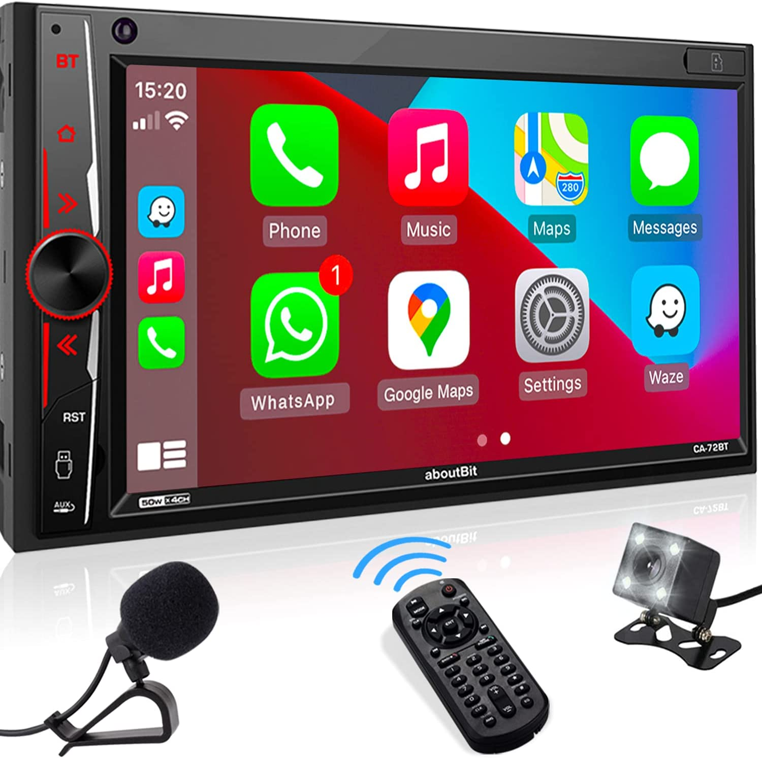 Double Din Stereo Compatible with Apple Carplay, aboutBit in-Dash 2 Din Digital Media Receiver - Bluetooth, Phone Mirroring, MIC, AM/FM Radio, USB/SD, A/V Input, HD Camera Input, Fast Charge
