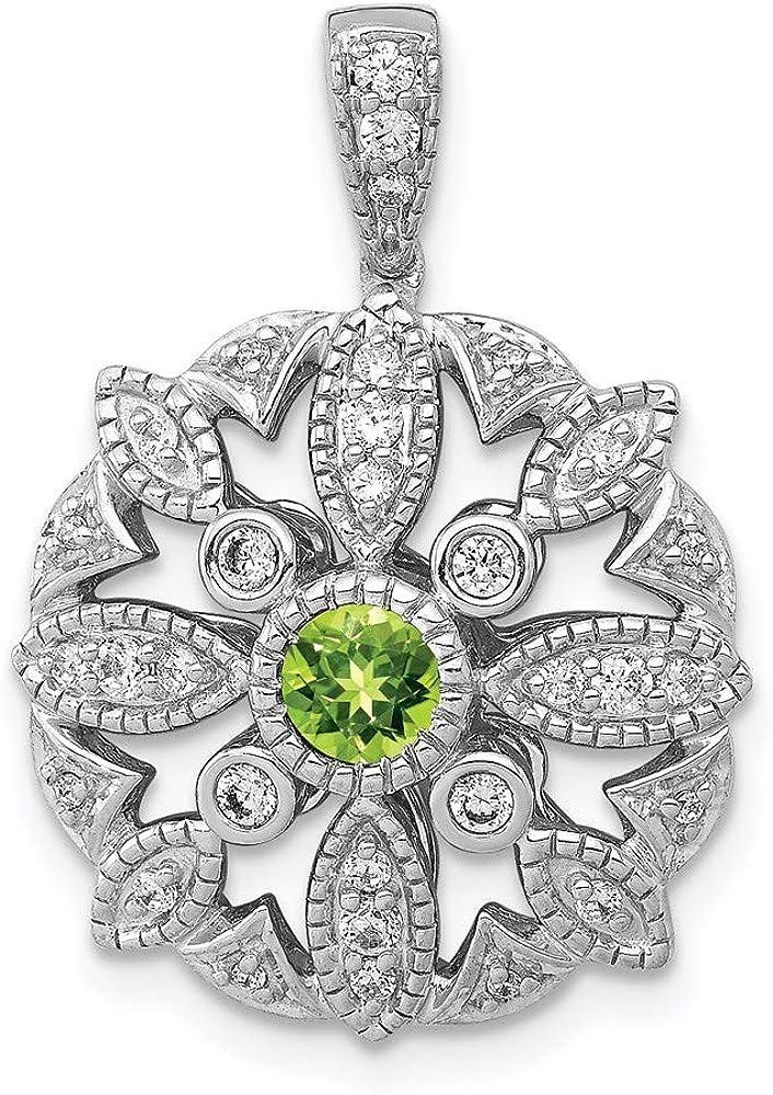Charm Pendant Outlet SALE Cheap 14K White Gold Peridot Round Green Diamond