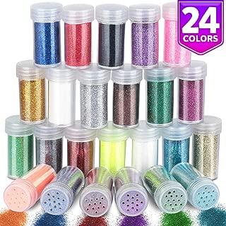24 Jar Fine Glitter for Slime, LEOBRO Multipurpose 0.3 mm Craft Glitter in Shaker Jars, Solvent Resistant Glitter for Art Crafts, Eye Shadow, Nail, Epoxy Tumbler, in 24 Assorted Colors