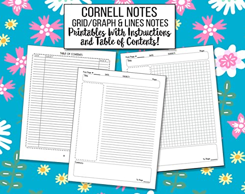 Two Versions of Cornell Notes Printable Templates - Grid Graph Paper and Lines - Table of Contents and Instructions for College, High School, Journals, Teachers and Students