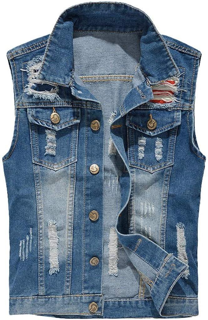 MODOQO Men's Denim Jacket Casual Sleeveless Loose Fit Lightweight Outwear Jeans Coat