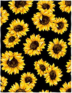 QH 58 x 80 Inch Sunflower Print Super Soft Throw Blanket for Bed Couch Sofa Lightweight Travelling Camping Throw Size for Kids Adults All Season