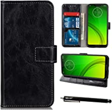 Moto G7 Power Case, Moto G7 Supra Case, Moto G7 Optimo Maxx Case, MELOP Retro PU Leather Wallet Magnet Flip Case with Credit ID Cards Slots for Motorola Moto G7Power G7Supra G7Optimo Maxx - Black