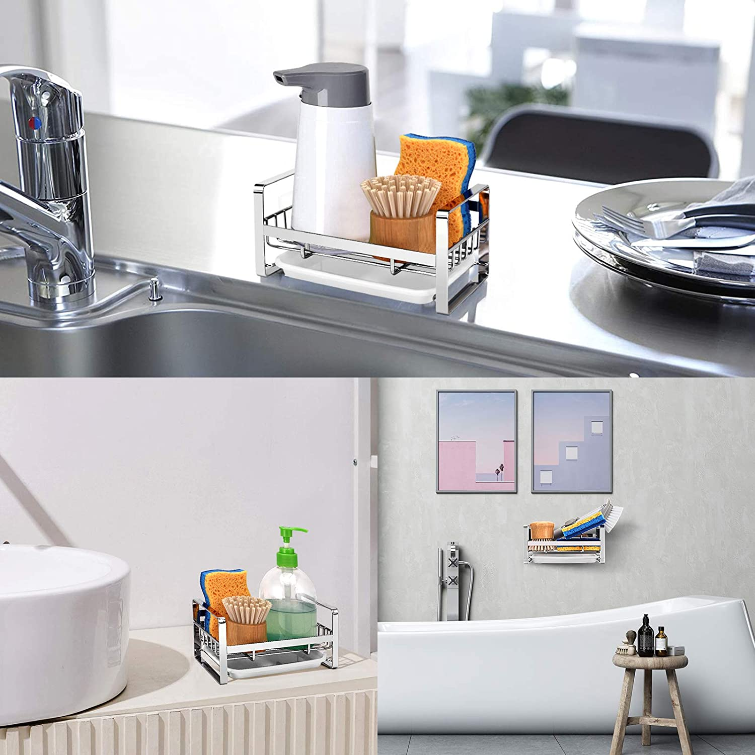 Buy Vanten Kitchen Sink Caddy Organizer Sponge Holder For Sink Sink Tray Drainer Rack Dish Rags Brush Soap Storage Countertop With Removable Front Drain Pan Not Including Dispenser And Sponge Online In
