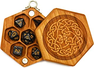 Pocket Sized Hex Dice Wood Chest with Magnetic Lid - Perfect for DnD, Magic the Gathering Dice Counters and Any Other Tabletop Games by Elderwood Academy (Mini-Cherry/Celtic)