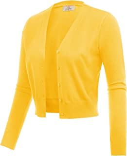 Women's Open Front Knit Cropped Bolero Shrug Cardigan Sweater Long Sleeve (S-4XL)