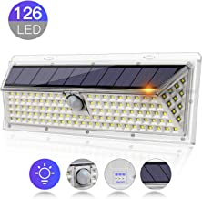 Solar Led Lights Outdoor,126 LEDs with Solar Motion Sensor,Waterproof Security Lights with 270°Wide Angle,Auto ON/Off 3 Optional Modes for Garden,Patio,Garage,Porch,Driveway(126 LED Solar Lights)
