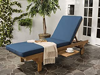 Safavieh Newport Chaise Lounge Chair, Natural/Navy