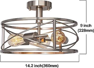 FIMITECH 3-Light Semi-Flush Mount Ceiling Light, Stainless Steel Ceiling Lights Pendant Lighting Fixtures, Vintage Close to C
