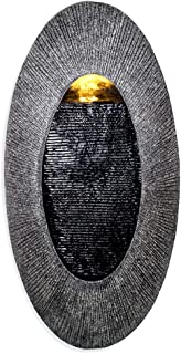 Oval, Indoor/Outdoor Wall Fountain 23 x 12 | Handcrafted Natural Stone Look with LED Lights, Adjustable Speed, Calming Waterfall Sounds | Made with Polyresin Material (Charcoal)