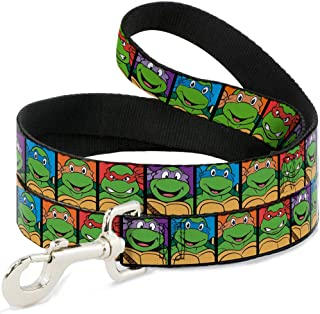 Buckle-Down Pet Leash - Classic TMNT Expessions/Battle Gear Gray/Multi Color - 4 Feet Long - 1/2