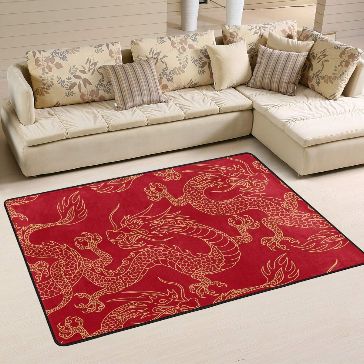 Red Traditional free Chinese Dragon Area Rug Po Indoor Carpet 6' 4' x Long-awaited