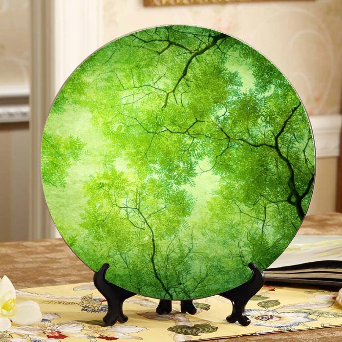 Green Leaves Colorado Springs Mall Decorated Plate Home Virginia Beach Mall Ceramic Dish Wobble-Plat