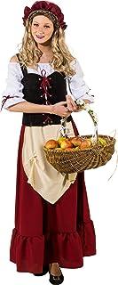 narrenkiste O9031-46 rot-schwarz-beige Damen Mittelalter Magd Bäuerin Wirtin Kostüm Kleid Gr.46