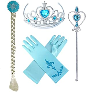 T-Trees Frozen Princess Elsa Accessories Set Including Tiara Glove Wand and Wig (4pcs)