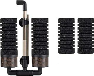 Hygge 水槽フィルター スポンジ 超静か アクアリウムエアーポンプに接続 水槽面貼り付け型(吸盤) 生物濾過 物理濾過 ろ過装置 ツイン ブラック M サイズ 対応水量:55L ~200L