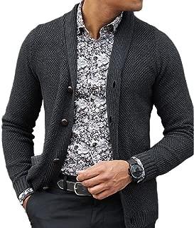 Losait Men's Turn-Down Collar Coat Button Up Knitting Sweater Cardigan