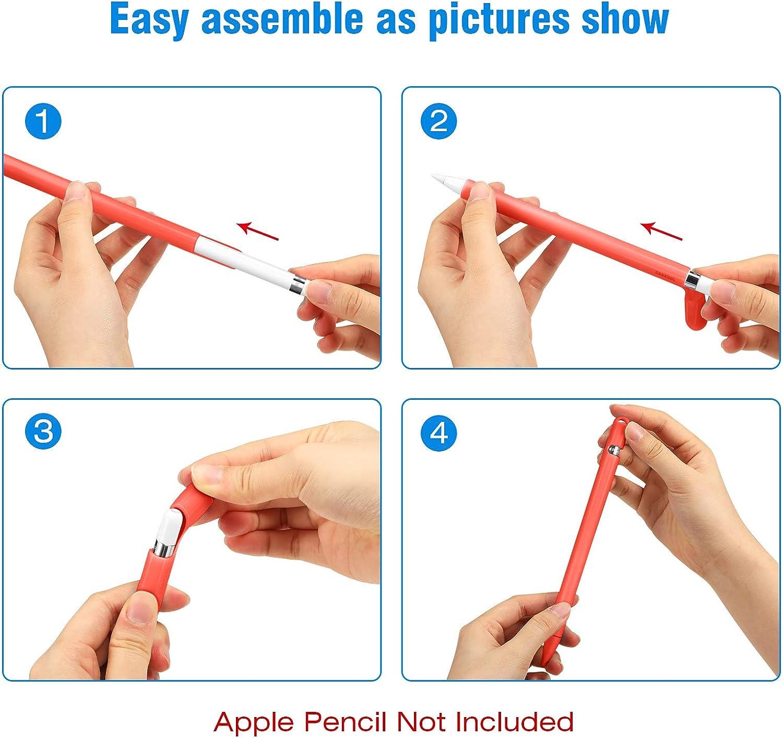 Naranja Cubierta Ligera y Suave para iPencil con 2 Tapas y Correa para Cable Adaptador Fintie Funda de Silicona Compatible con Apple Pencil 1./ª Generaci/ón