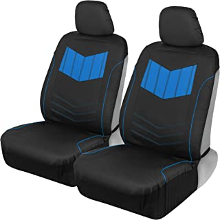 Motor Trend MTSC304 Blue ComfortPlush PU Leather All Protection Sideless Seat Covers for Car Auto (Sedan Truck SUV Minivan) – Front 2pc