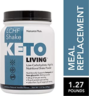 KetoLiving LCHF Vanilla Shake Meal Replacement - 1.27 lb Drink Powder - Supports Ketosis, Cuts Cravings - Very Low Sugar, Low Carb High Fat, With MCTs & Probiotics - Gluten-Free - 15 Servings