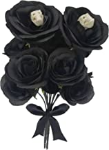 ARTINNOS Halloween Black Flowers, 2 Black Bouquet, Black Roses with 14 Heads (Polyester) and 2 Skull, Fake Black Roses, Wedding Bouquet, Centerpieces Arrangement, Halloween Party Decorations
