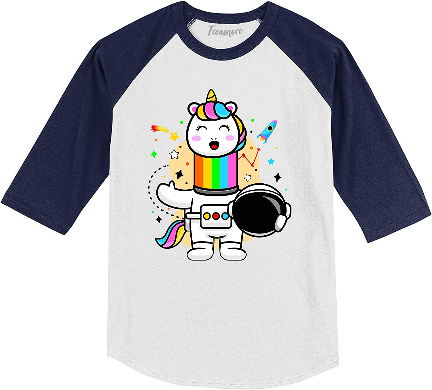 Unicorn Astronaut in Space Magical Space Lover Mom and Me Toddler Girl Raglan Sleeve Shirt