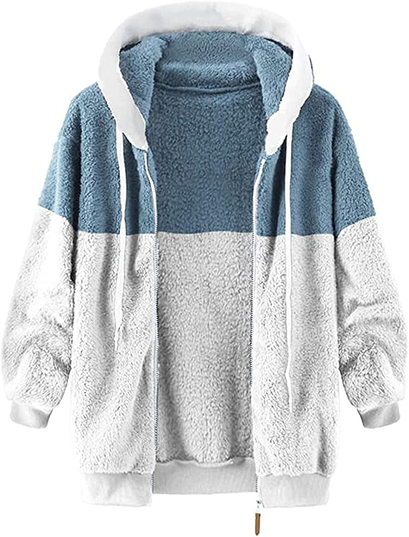 Tops for Women Faux Fur Color Block Hoodies Zipper Up Long Sleeve Coats Fleece Outwear Jacket Winter Warm Cozy Tops