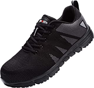 LARNMERN Work Steel Toe Shoes Safety Work ESD Shoes for Men and Women Lightweight Industrial & Construction Shoe (13.5 Women/11.5 Men, Black/White/Black)