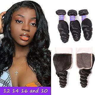 Aodai Hair Brazilian 9A Loose Wave Hair Bundles with Closure 4x4 Free Part 100% Unprocessed Virgin Human Hair Extensions Natural Color (12 14 16+10, loose wave)