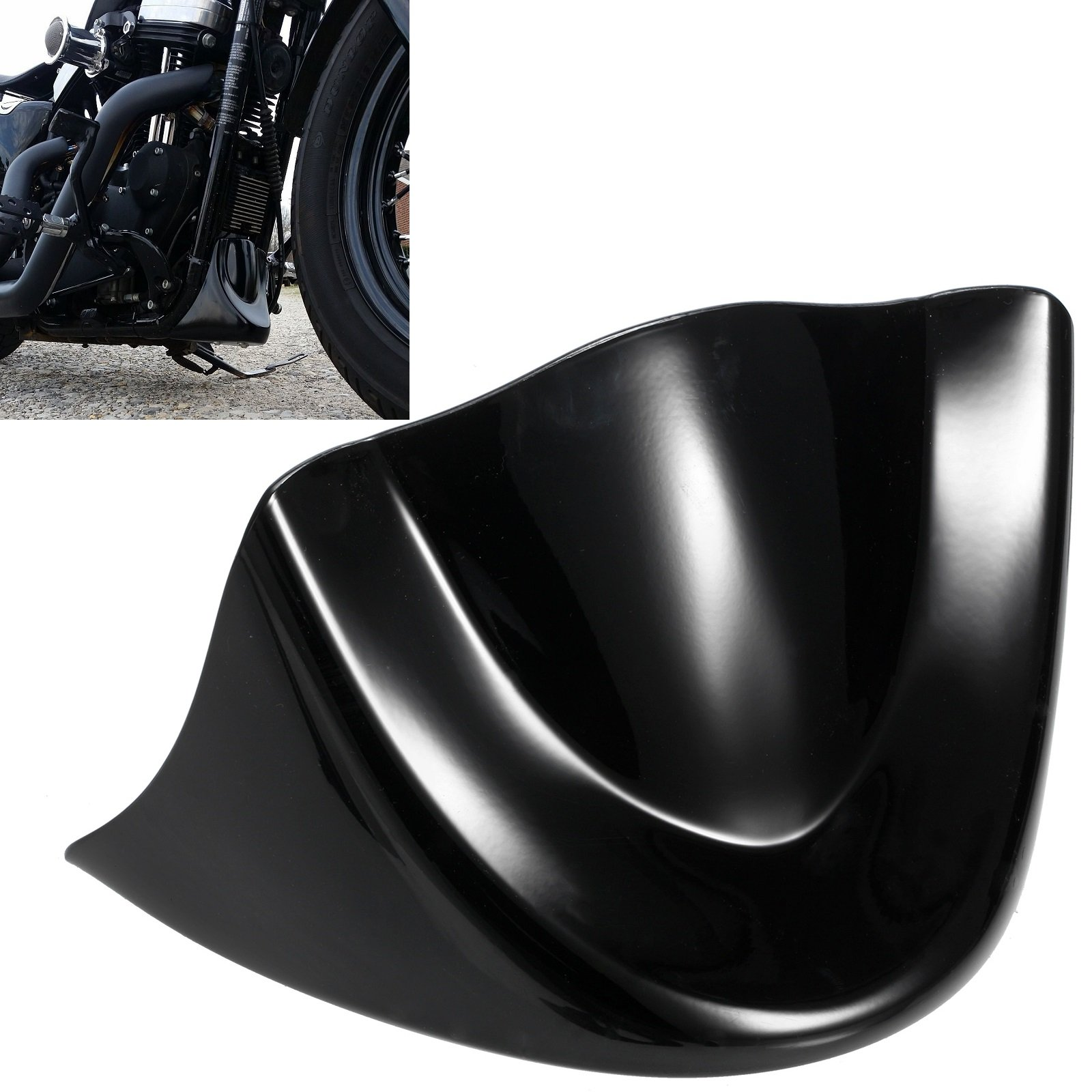 PBYMT Front Chin Spoiler Air Dam Fairing Windshield Mudguard Cover with Metal Bracket Compatible for Harley Davidson Dyna Fat Bob Street Bob Super Wide Glide 2006-2017 Gloss Black