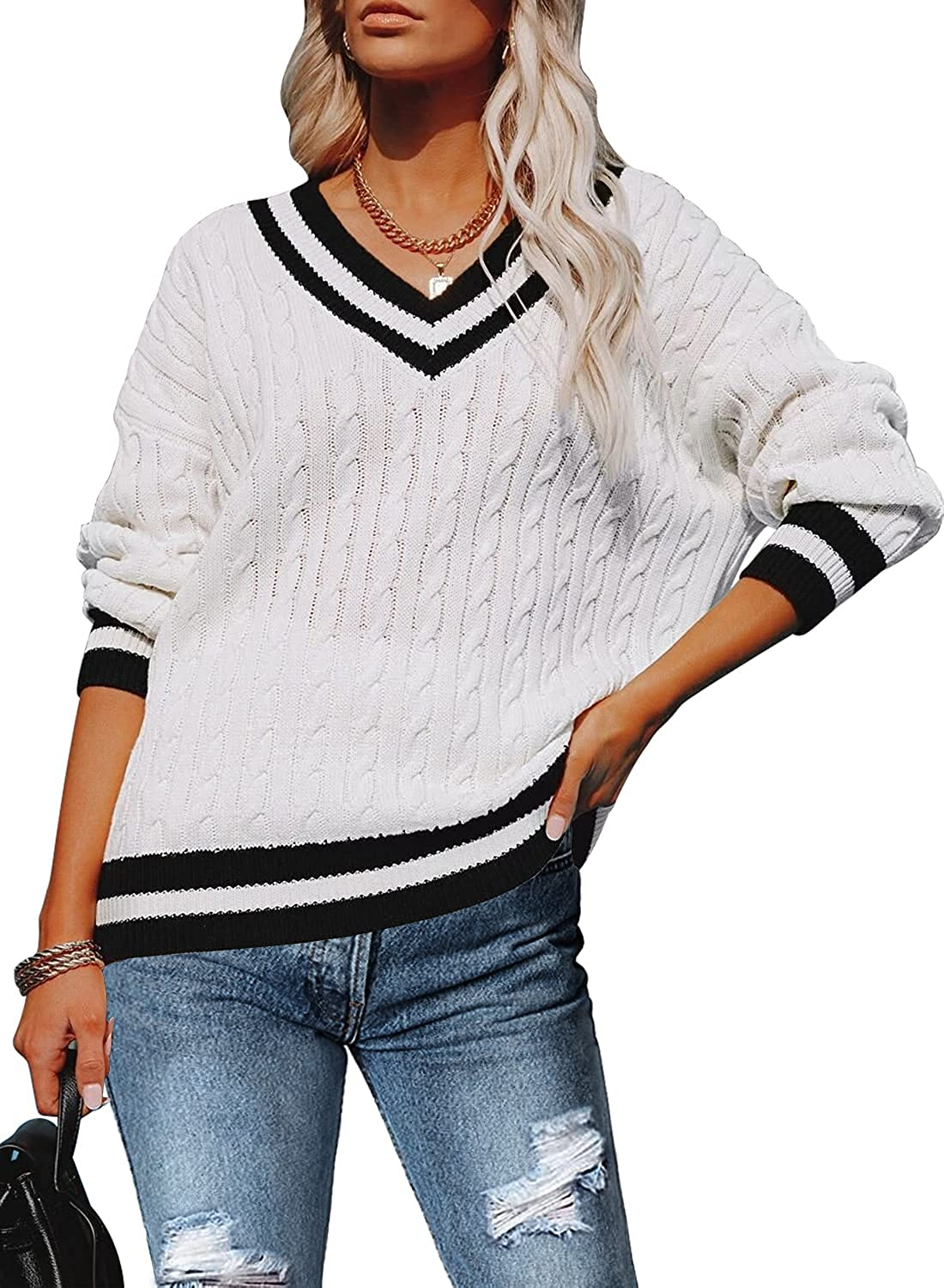 MIHOLL Women's V Neck Sweater Long Sleeve OversizedCable Knit Pullover Jumper Tops