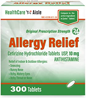 HealthCareAisle Allergy Relief Cetirizine Hydrochloride Tablets, USP | 24 Hour Allergy Relief | 10 mg | 300 Count