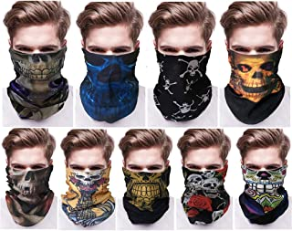 Coxeer Halloween Face Masks, 9PCS Bandana Face Mask Multipurpose 3D Print Head Scarf Tube Mask for Halloween Costume