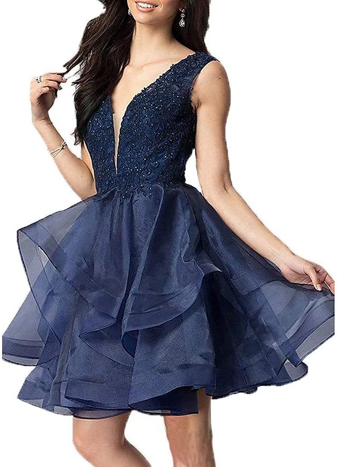 JOFE Lace Applique Homecoming Dresses Short Organza Prom Cocktail Party Gowns