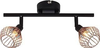 Lámpara de techo en diseño retro, con cubierta de rejilla de cobre, 2 bombillas G9 máx. 33 W, metal, negro/cobre.