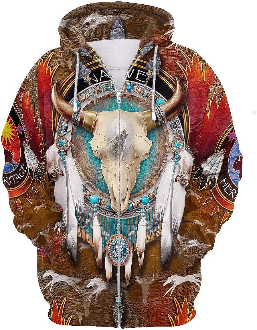 GGmar Men Hoodie Clothing Men Women Native Indian 3D Zip up Jacket