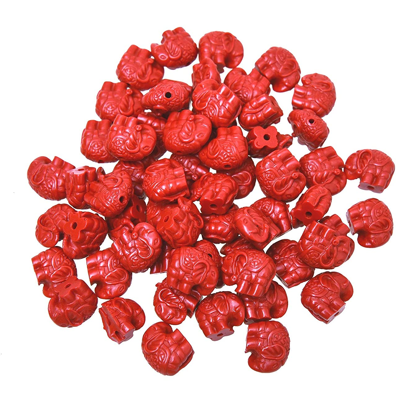 Monrocco 60 Pcs Cinnabar Carved 14mm Elephant Shape Loose Beads Craft DIY Jewelry Making Finding Supplies