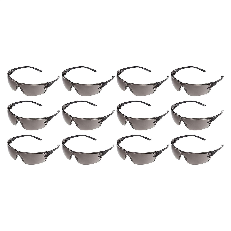 AmazonCommercial Gafas de seguridad (gris / negro), antivaho, paquete de 12