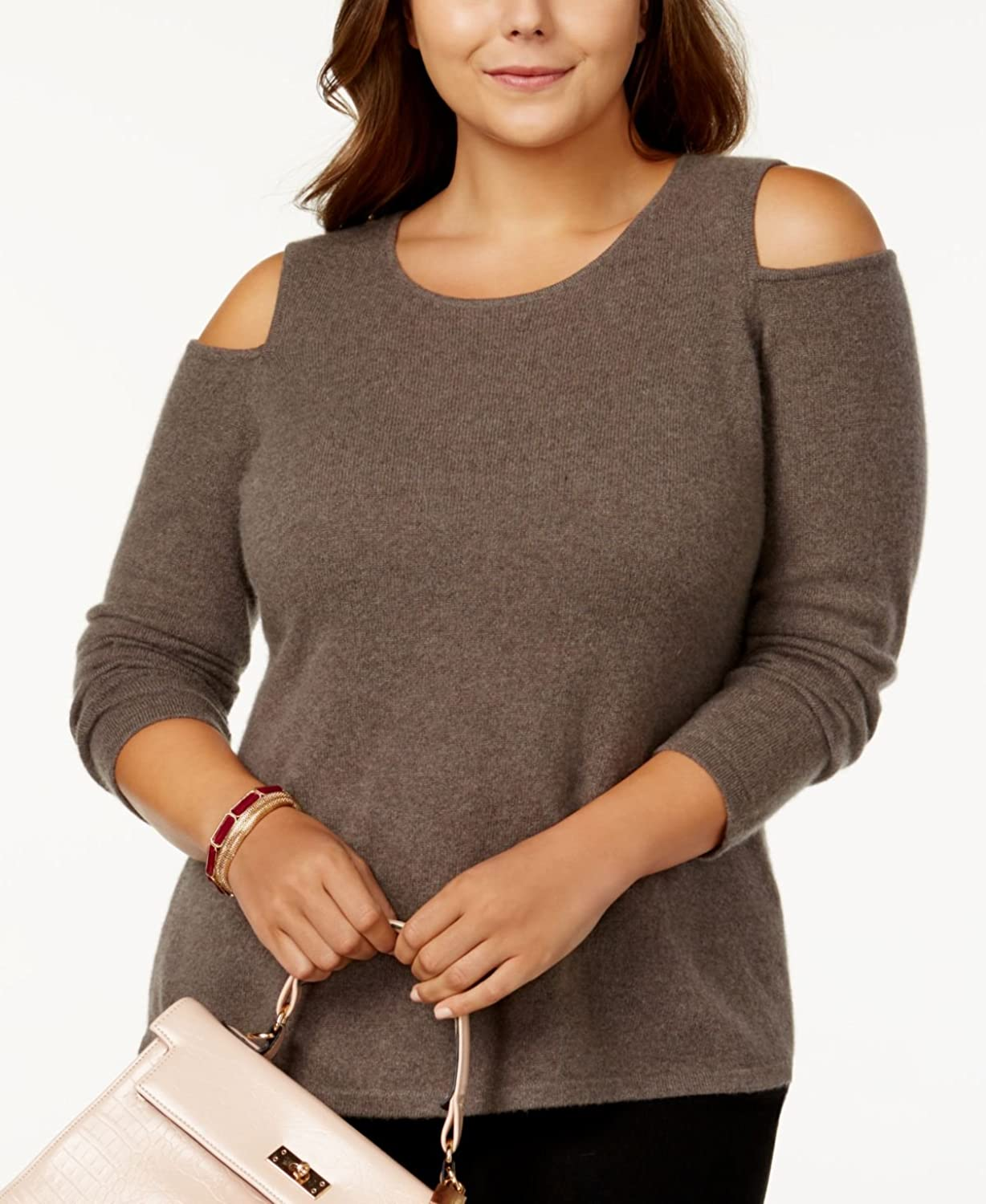Charter Club Plus Size Cashmere ColdShoulder Sweater