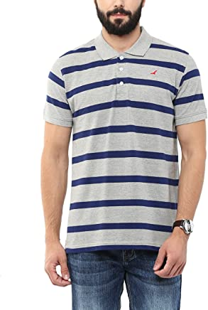AMERICAN CREW Men's Polo Collar Cotton Stripes T-Shirt (Grey Melange & Blue)