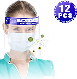 12Pcs Reusable Face Shield, Wattne Plastic Safety Face Shield Adjustable Transparent Full Face Anti-Spitting Protective Mask Hat Protect Eyes and Face Protection
