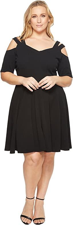 Plus Size Elodie Strappy Cold Shoulder Fit and Flare Dress